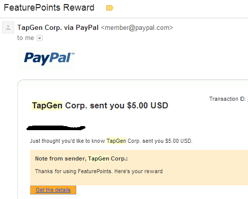 Payment proof from Feature Points app.